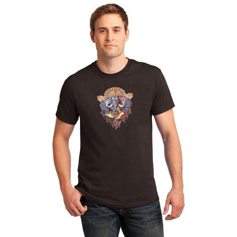 Black Color Cotton Men's T-Shirt  - BLK-160-CT-GANESH