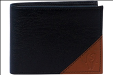 Black Color Velvet Men's Wallet - BLK-TAN-CNTNR
