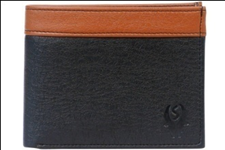 Black Color Velvet Men's Wallet - BLK-TAN-CP