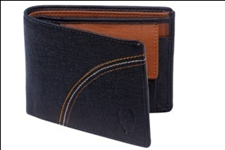 Black Color Velvet Men's Wallet - BLK-TRILINE