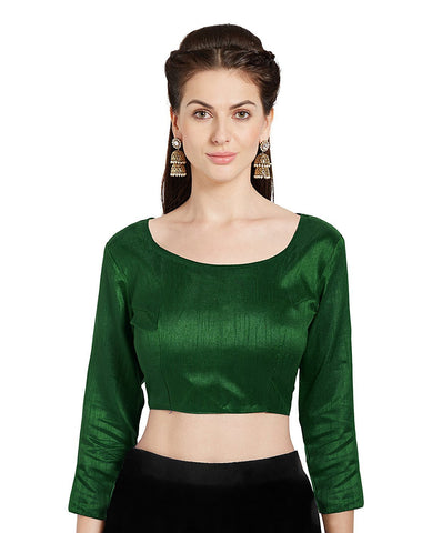 Green Color Banglori Silk Stitched Blouse - BLOUSE03