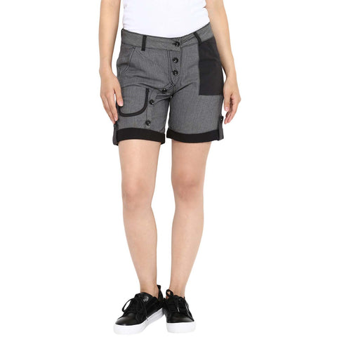 Black and Grey Color Bamboo Cotton Lycra Women Short - BLS-Pin