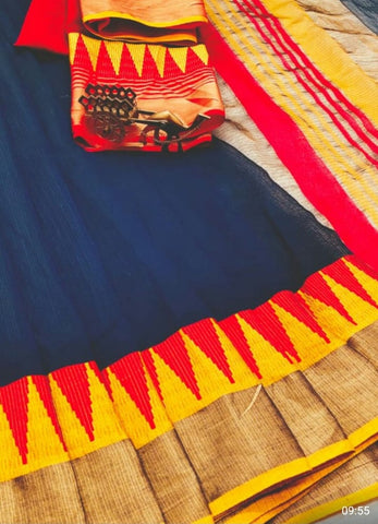 Blue Color Kota Doriya Saree - BLUE-LAXMINARAYAN