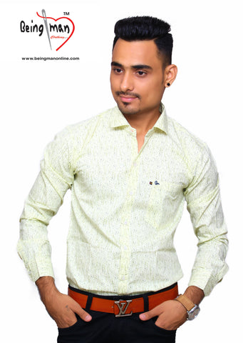 Lemon Color Satin Print Men's Shirt - BM-108-LEMON