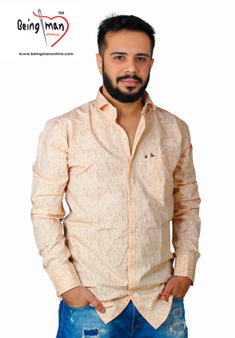 Peach Color Satin Print Men's Shirt - BM-108-PEACH