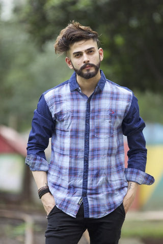 Blue Color Indigo Denim Checks Men's Shirt  - BM-115-BLUE