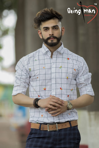 White Color Checks Emb Men's Shirt - BM-116-White