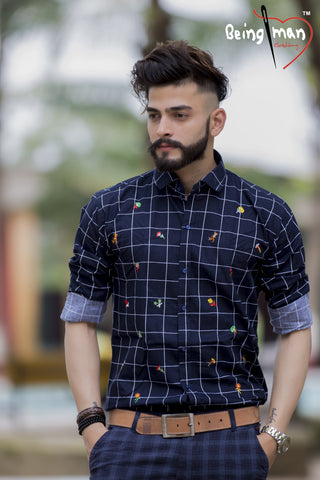 Black Color Checks Emb Men's Shirt - BM-116-Black