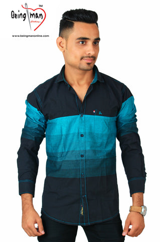 Black and Blue Color Cotton Men's Shirt - BM-118-black-blue
