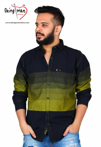 Black and Gold Color Cotton Men's Shirt - BM-118-black-gold