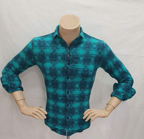 Rama Green Color Cotton Checks Mens Shirt - BM-128-RAMAGREEN