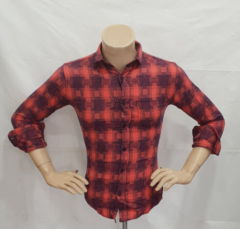 Tomato Red Color Cotton Checks Mens Shirt - BM-128-TOMATO