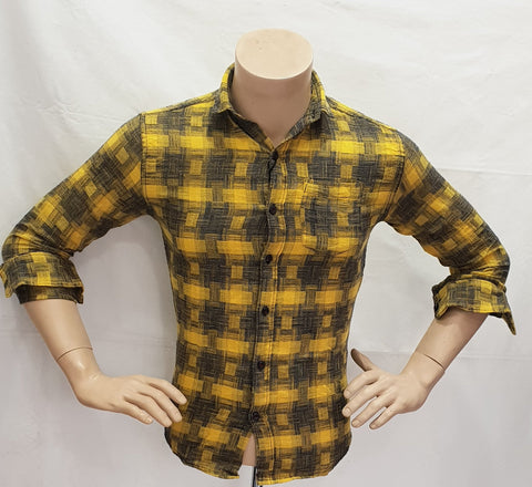 Yellow Color Cotton Checks Mens Shirt - BM-128-YELLOW