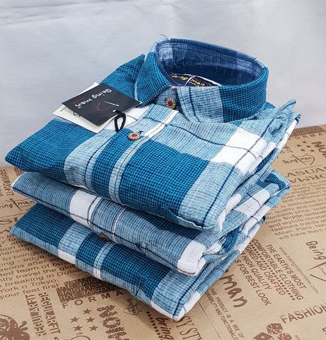 Blue Color Cotton Checks Mens Shirt - BM-129-BLUE