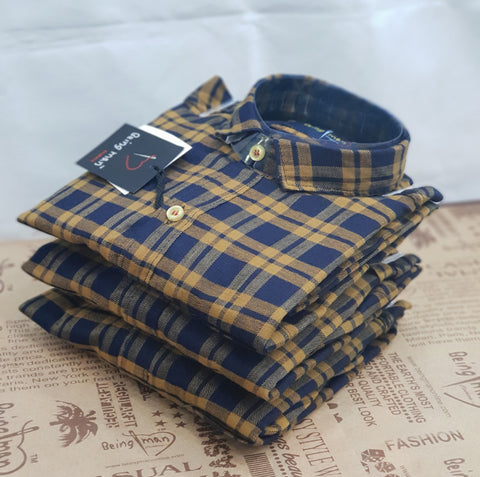 Gold Color Twill Checks Mens Shirt - BM-130-GOLD