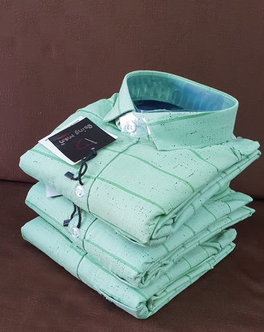 Pista Green Color Cotton Men' Shirt - BM-135-PISTA-GREEN