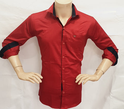 Maroon Color Satin Print Mens Shirt - BM-136-MAROON