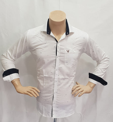 White Color Satin Print Mens Shirt - BM-136-WHITE