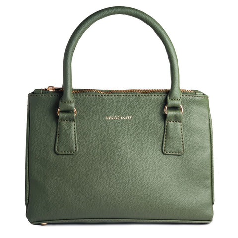 Green Color Vegan Leather Women Satchel Bag - BM-2ZIP-GREEN