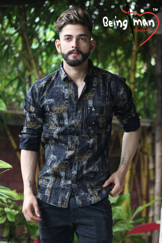 Black Color Cotton Print Men's Shirt - BM-9002