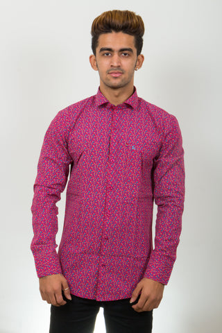Dark Pink Color Cotton Micro Print Men's Shirt - BM-9003-Dark-Pink