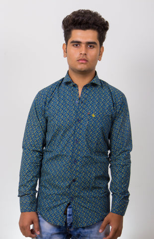 Dark Green Color Cotton Micro Print Men's Shirt - BM-9003-Dark-Green