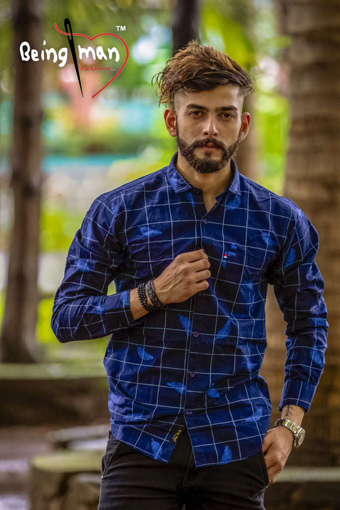Buy Blue Color Printed Checks Mens Shirt