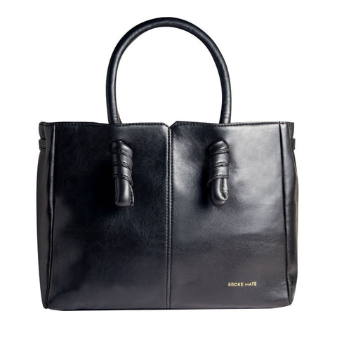 Black Color Vegan Leather Women Hand Bag - BM-KNOT-BLACK