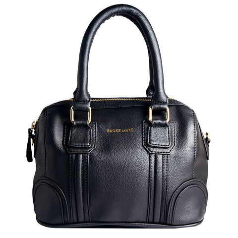 Black Color Vegan Leather Women Satchel Bag - BM-ROUND-BLACK