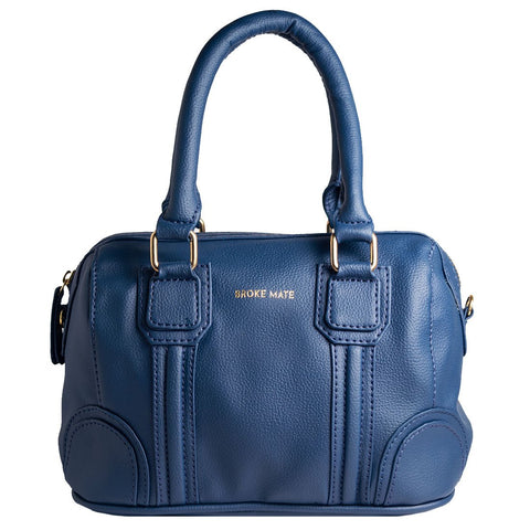 Blue Color Vegan Leather Women Satchel Bag - BM-ROUND-BLUE