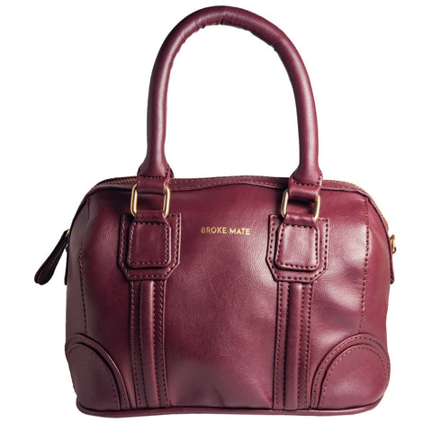Red Color Vegan Leather Women Satchel Bag - BM-ROUND-RED