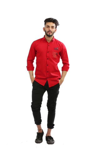 Red Color Cotton Men Shirt - BM102-red