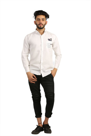 White Color Cotton Men Shirt - BM102-white