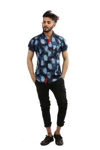 NavyBlue Color Lycra Men Shirt - BM103-navyblue