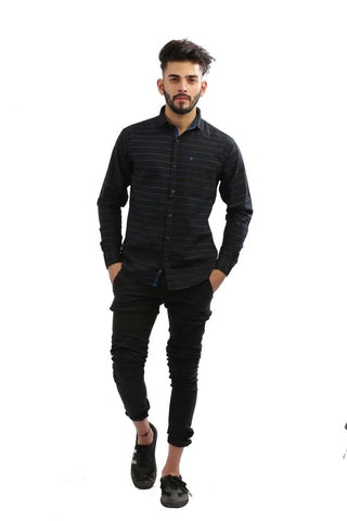 Black Color Lycra Men Shirt - BM105-black