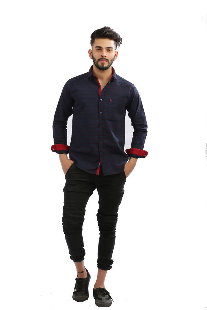 Buy NavyBlue Color Lycra Men Shirt