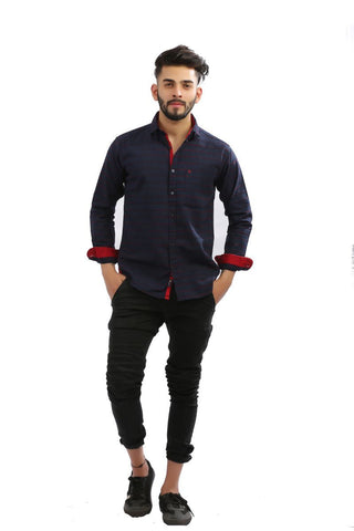 NavyBlue Color Lycra Men Shirt - BM105-navyblue