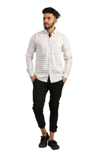 White Color Lycra Men Shirt - BM105-white