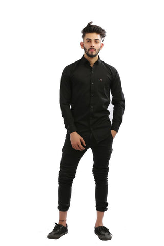 Black Color Cotton Men Shirt - BM126-black