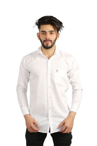 White Color Cotton Men Shirt - BM126-white