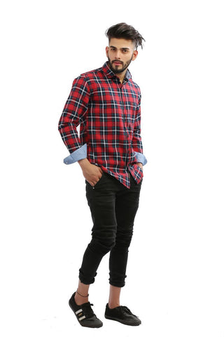 Red Color Indigo Denim Men Shirt - BM132-red