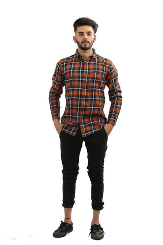 Rust Color Indigo Denim Men Shirt - BM132-rust