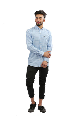SkyBlue Color Cotton brasso Men Shirt - BM135-skyblue