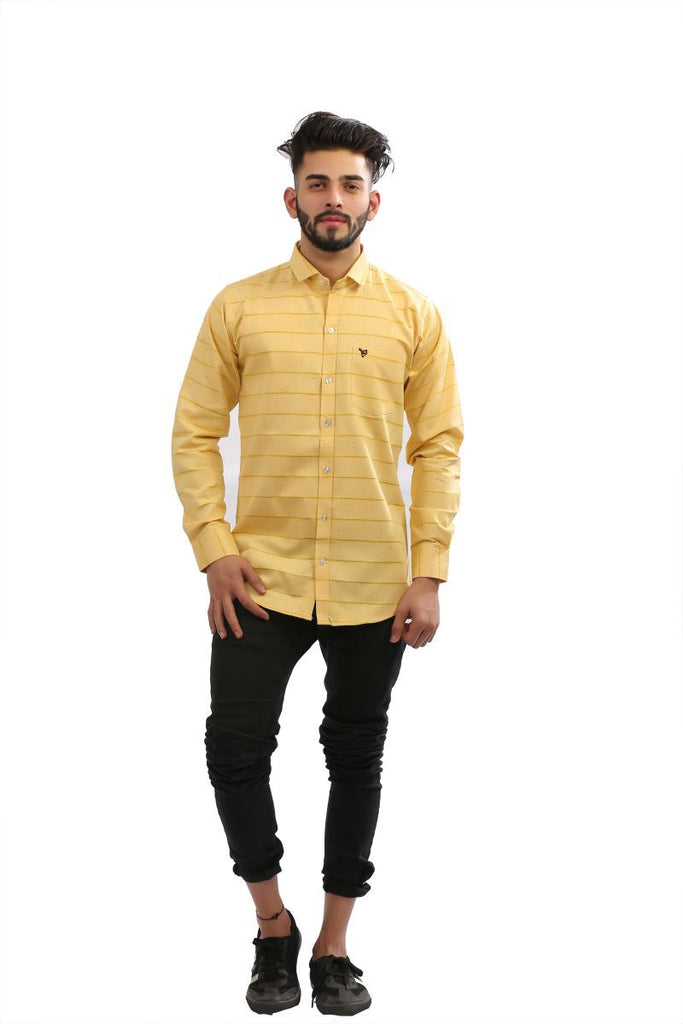Buy Yellow Color Cotton brasso Men Shirt