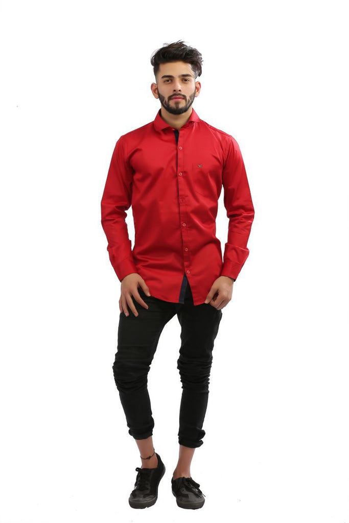 Buy Maroon Color Fine Satin Men Shirt