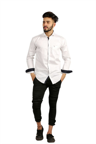 White Color Fine Satin Men Shirt - BM136-white