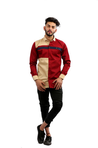 Maroon Color Cotton Men Shirt - BM143-maroon