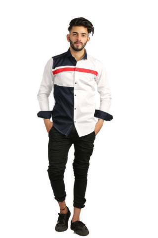 White Color Cotton Men Shirt - BM143-white