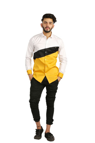 Yellow Color Cotton Men Shirt - BM144-yellow