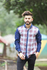 Red Color Indigo Denim Checks Men's Shirt  - BM-115-RED
